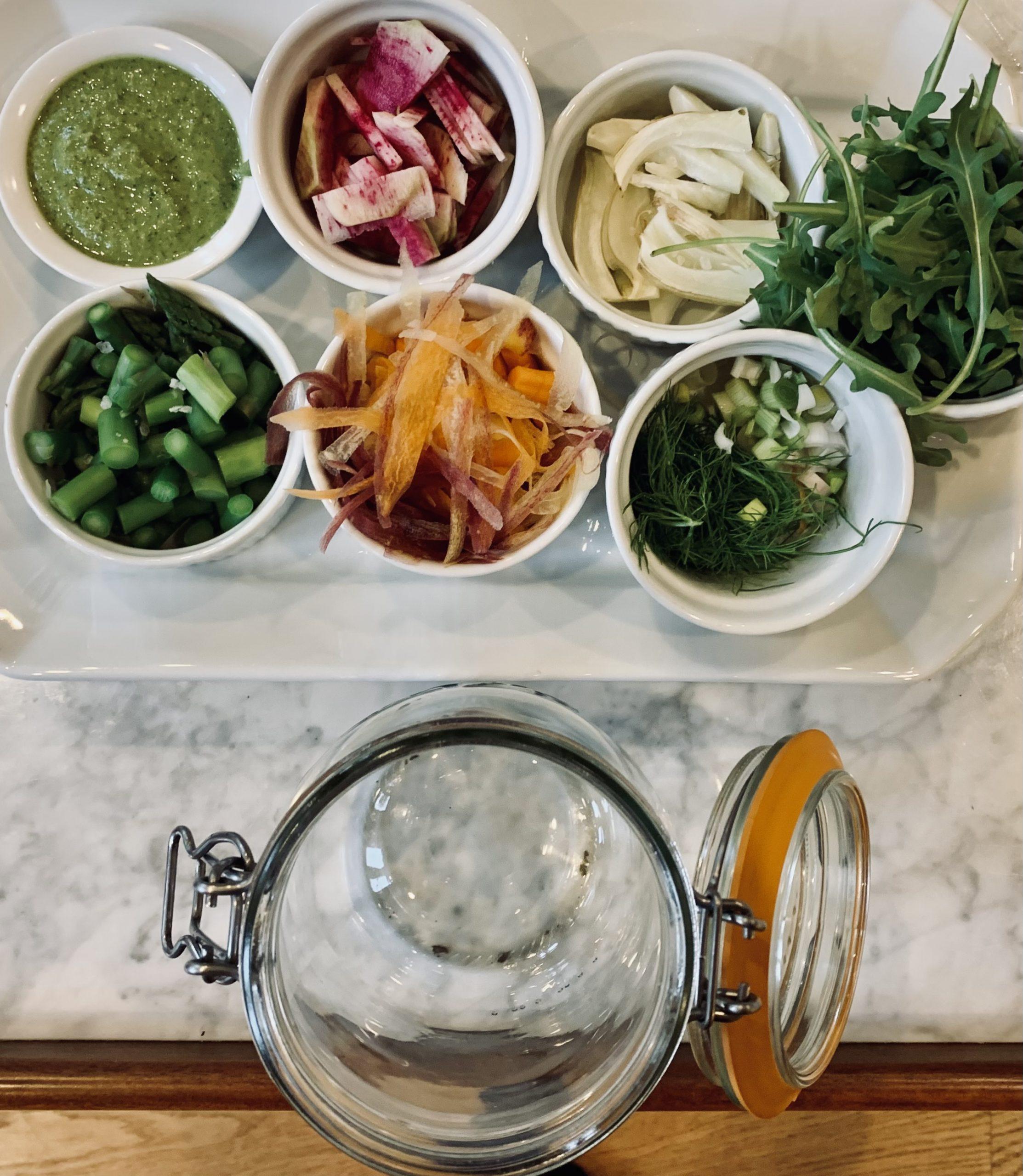 Fennel Mason Jar Salad and Green Garlic Pesto Prep