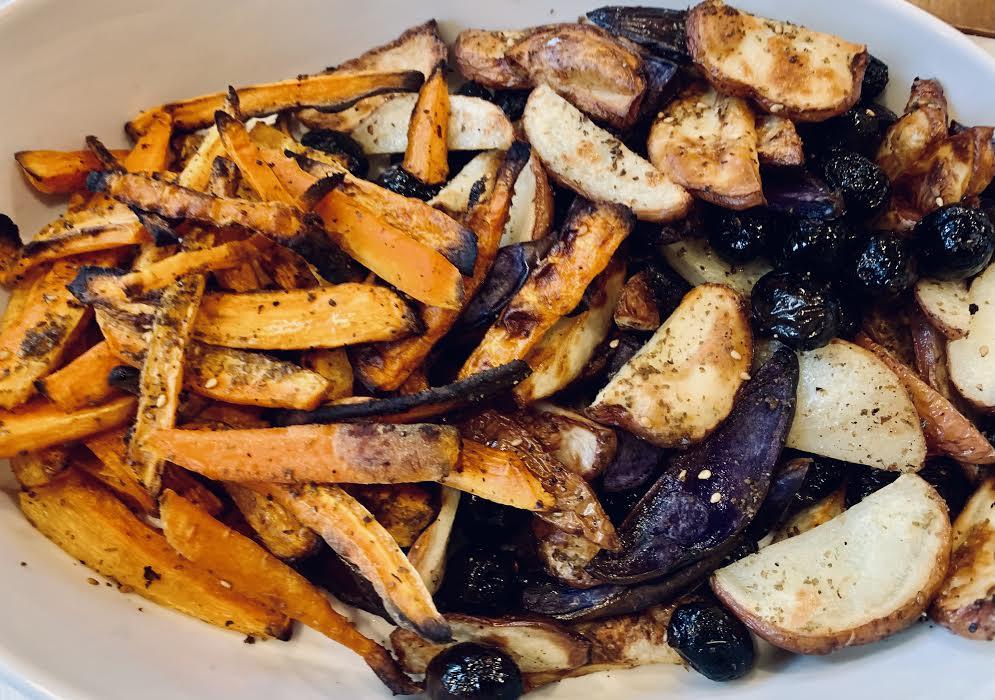 Roasted carrots, potaotes olives with za'tar
