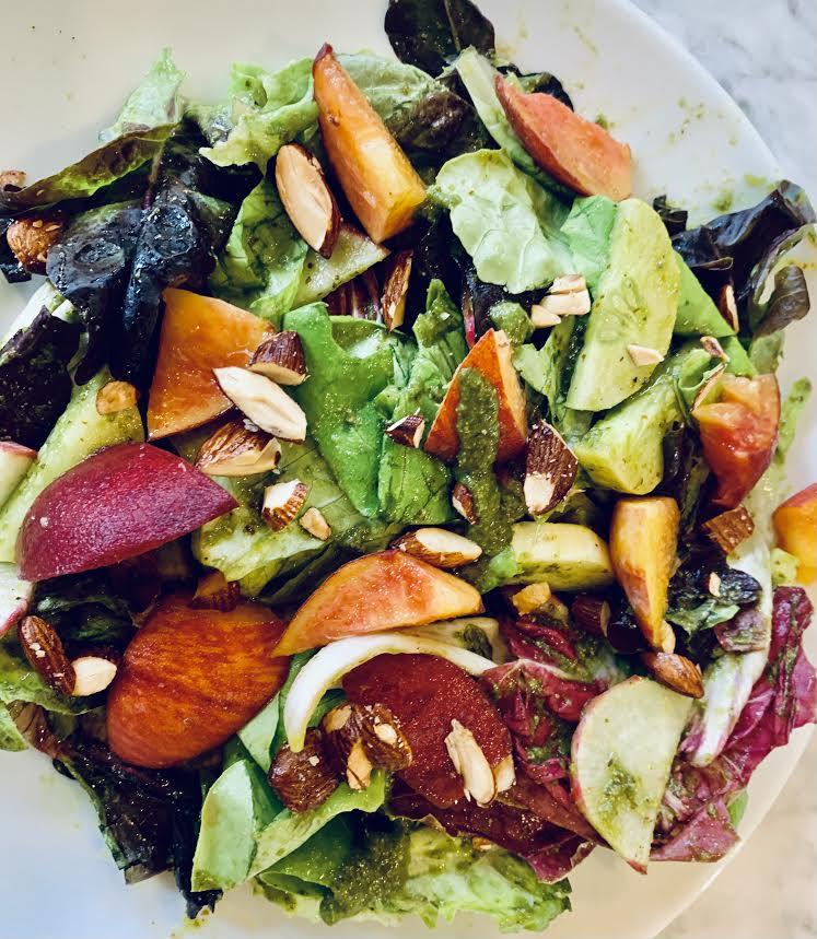 Peach Basil Miso Almond Salad