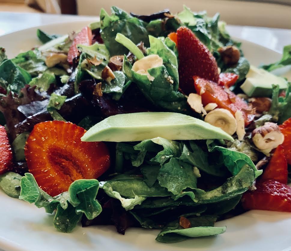 Strawberry Hazelnut Salad with Basil Mint Cucumber