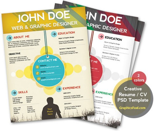 Amazing and Creative Free Resume PSD Template
