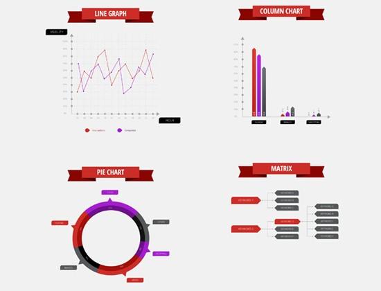 Infographics PSD data elements set vector