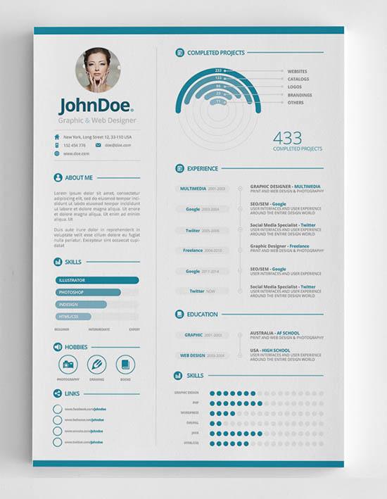 25 Infographic Resume Templates Free & Premium Collection