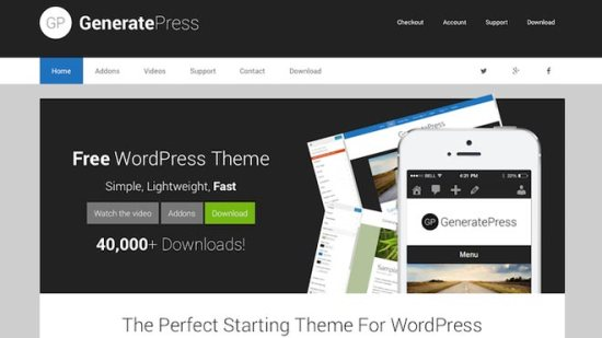 generatepress free wordpress stheme