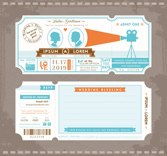 Vector Movie Ticket Wedding Invitation Design Template