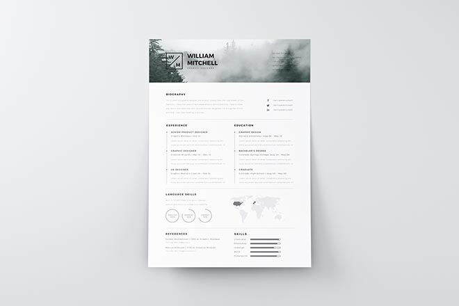Clean Resume Template for Photoshop and Illustrator 7