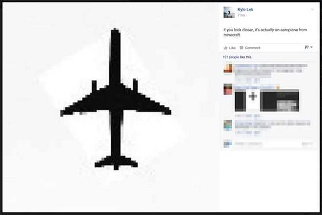 """""""if you look closer, it's actually an aeroplane from minecraft"""""""