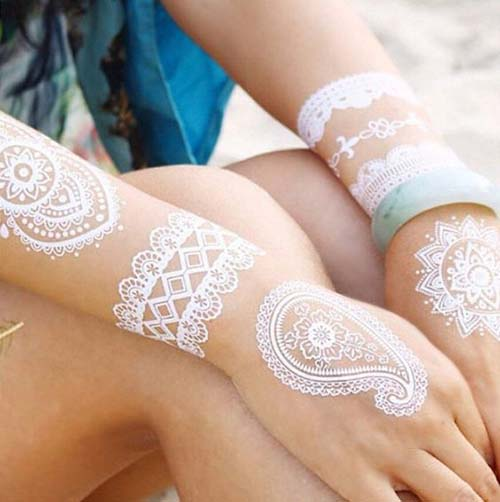 white half hand mehndi designs