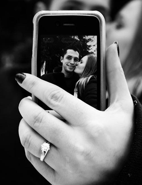 black and whtie couple selfie