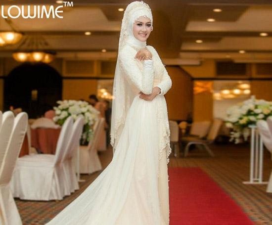 fashionable lace muslim bridal dress with hijab