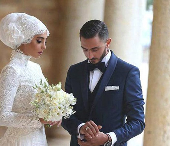 long sleeve bridal hijab wedding dress 2016-2