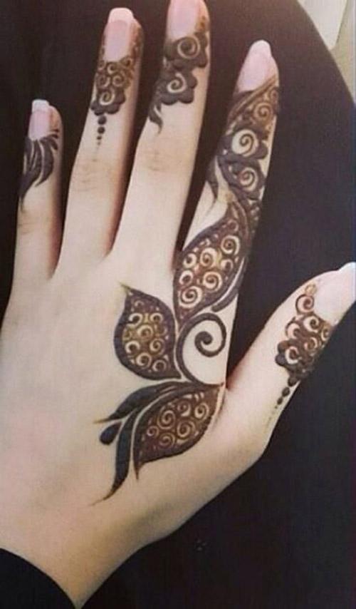 black imple henna design for finger