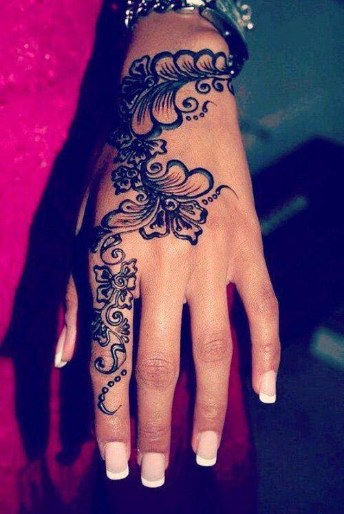 black simple henna designs for hands
