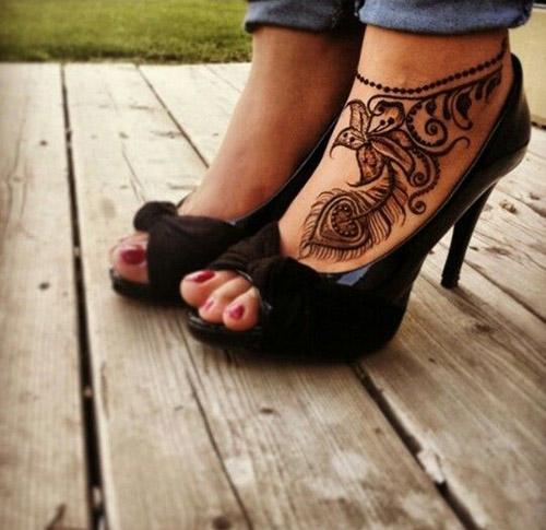 easy mehndi designs for feet