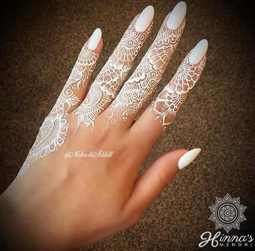 simple white finger henna design