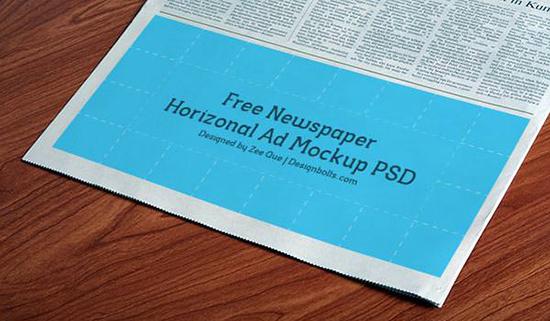 Free PSD Horizontal Newspaper Mockup