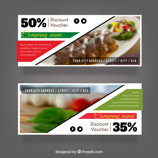 set-of-discount-vouchers-for-a-restaurant-free-vector