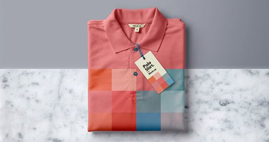 Folded Psd Polo Shirt Mockup