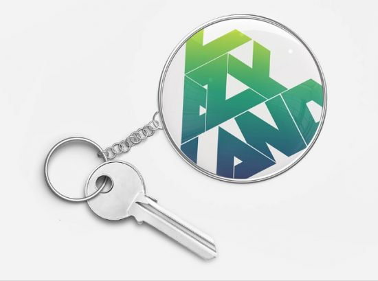 round key chain mockup