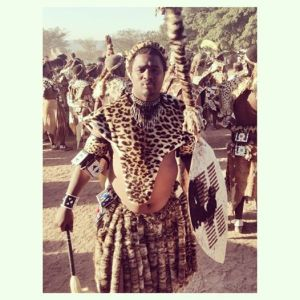 Shembe follower wearing synthetic leopard fur