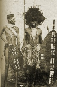 Zulu warriors with igqoka shield (left) and isihlangu shield (right)