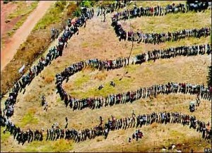 South Africans queuing to vote, 27th April 1994
