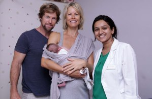 Jonty & Melanie Rhodes, with their first born, India, and Dr Sonal Saste