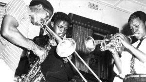 Jonas Gwangwa with Hugh Masekela and Kippie Moeketsi