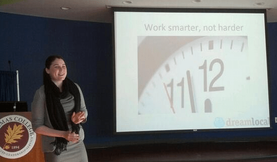 Aimee Bermudez of Dream Local Digital presents at Social Media Breakfast Central Maine on Time Management Tools