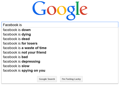 Google Autocomplete suggestions in November of 2014 for Facebook Is...
