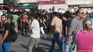 Crowd Scene with Armed Riot Police in Istanbul, Turkey