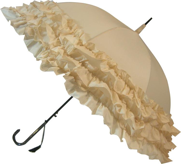 Cream Parasol  LuLu Frilly Umbrella  Umbrella Heaven