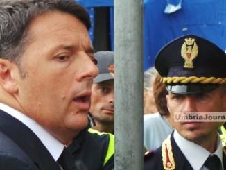 Il premier Matteo Renzi è arrivato a San Pellegrino di Norcia