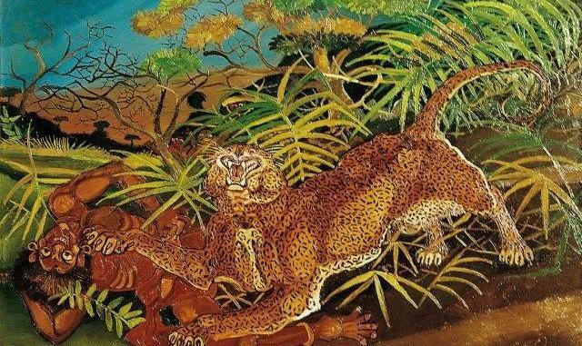 Antonio Ligabue, Leopardo con indigeno, olio su faesite, cm 87x130