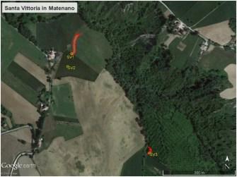 Figura 2. Posizione dei punti di emissione in Contrada San Salvatore nel Comune di Santa Vittoria in Matenano.