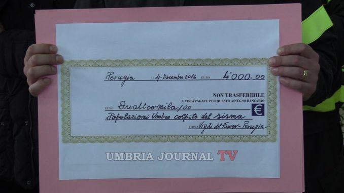Santa Barbara, Vigili del fuoco Perugia donano 4mila euro alla Valnerina per i container