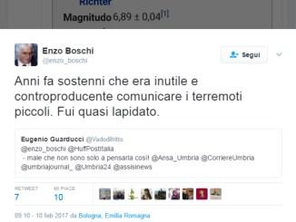 Il geofisico italiano, Enzo boschi, su Twitter dà ragione a Eugenio Guarducci