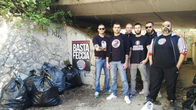 CasaPound Perugia, basta feccia, bonificato sottopasso via dei Filosofi via Solatia