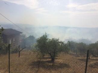 Pericoloso incendio a Perugia nella zona di Monte Tezio
