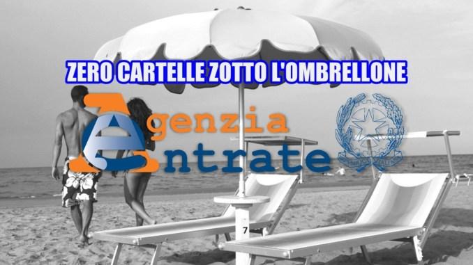 Agenzia delle entrate zero cartelle sotto l'ombrellone, estate serena