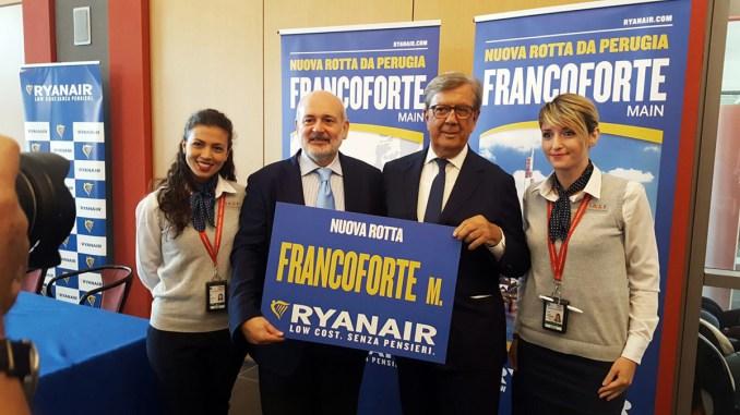 Aeroporto Perugia, nuova rotta da e per Francoforte, rinnovato accordo Ryanair