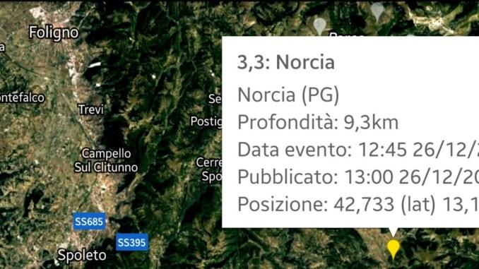Scossa di terremoto a Norcia di magnitudo 3,3 ben avvertita dalle persone
