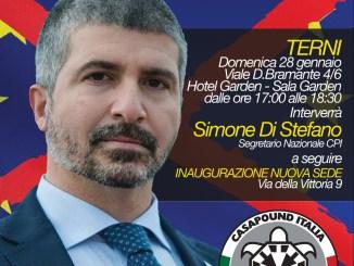 Politiche 2018, CasaPound Italia Terni, arriva Simone Di Stefano