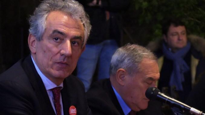 Il saluto di Attilio Solinas, Liberi e Uguali, al Presidente Pietro Grasso, durante la sua visita a Perugia