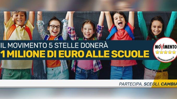 M5s un milione di euro alle scuole, 20 mila anche dall'Umbria