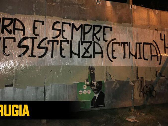 """Lotta Studentesca Perugia non siamo figli della resistenza partigiana """"Ora e sempre resistenza etnica"""""""