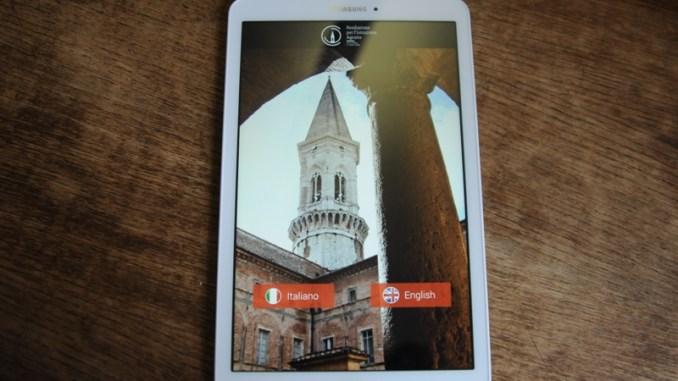 App multimediale su tablet per visitare Basilica San Pietro a Perugia