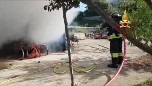 Incendio rimessa agricola a Montepetriolo, due squadre vigili del fuoco sul posto