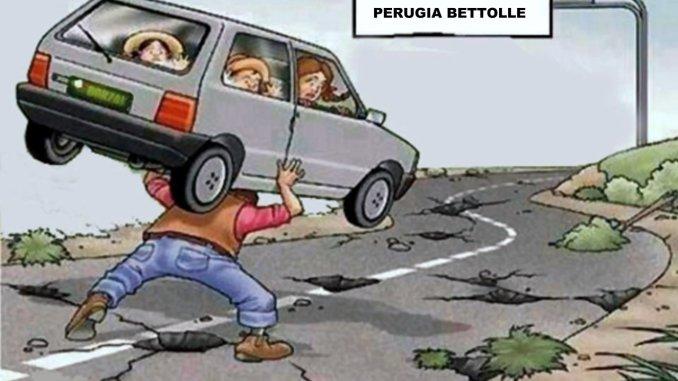 Piove e salta catrame su Raccordo Perugia Bettolle pneumatici spaccati