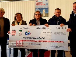 Terremoto, sindacati pensionati Cgil, Cisl e Uil consegnano 75mila euro al Comune di Cascia